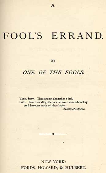 Albion Winegar Tourge 1838 1905 A Fools Errand By One Of The Fools