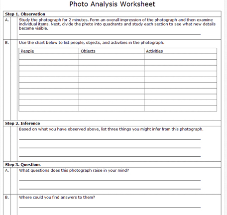 Printables Photography Worksheets gtts image analysis have students identify their top 3 people objects and activities denote them with an asterisk as these will be what they highlight when they
