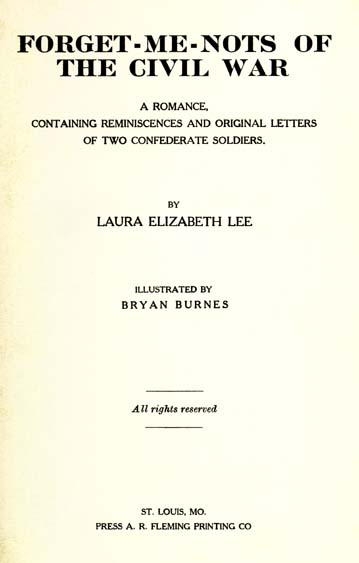 Laura Elizabeth Lee Battle Forget Me Nots Ofthe Civil War