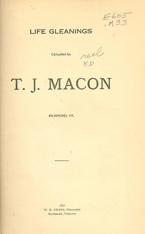 Thomas Joseph Macon 1839 1917 Life Gleanings