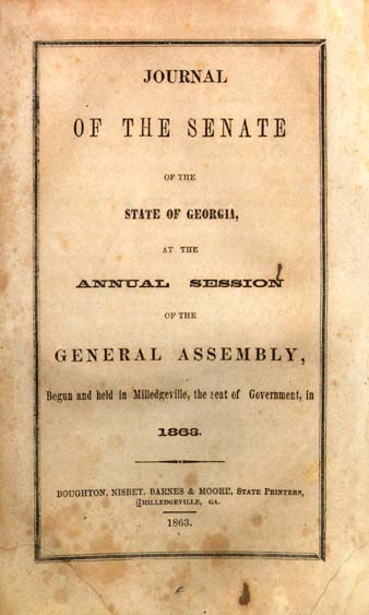 Georgia  General Assembly  Senate  Journal of the Senate of