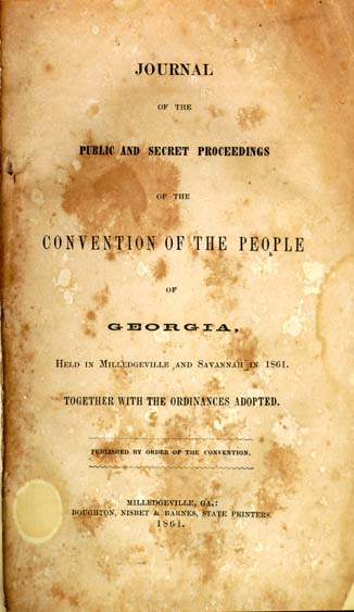 Georgia Convention Of The People Journal Of The Public