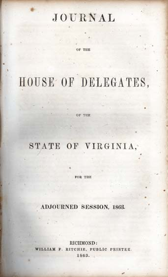 Virginia  General Assembly  House of Delegates  Journal of