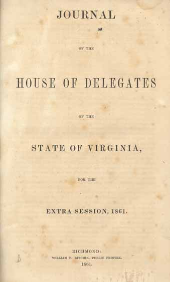 Virginia General Assembly House Of Delegates 1861 Journal Of