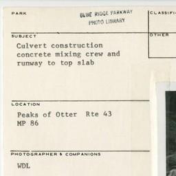 Blue Ridge Parkway   Culvert construction - Concrete mixing