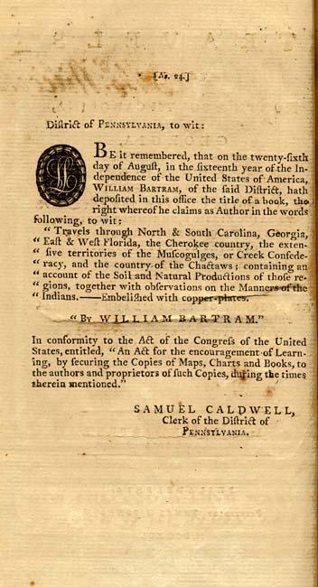 William Bartram, 1739-1823  Travels Through North & South