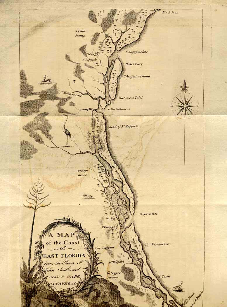 Map Of East Florida.William Bartram 1739 1823 Travels Through North South Carolina