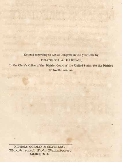 L Branson Levi B 1832 Branson Farrar S North Carolina