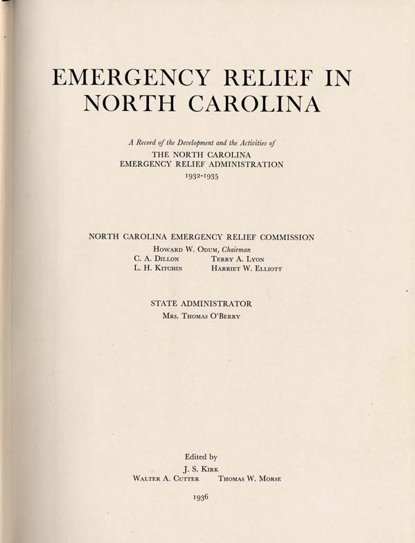Emergency Relief in North Carolina  A Record of the Development