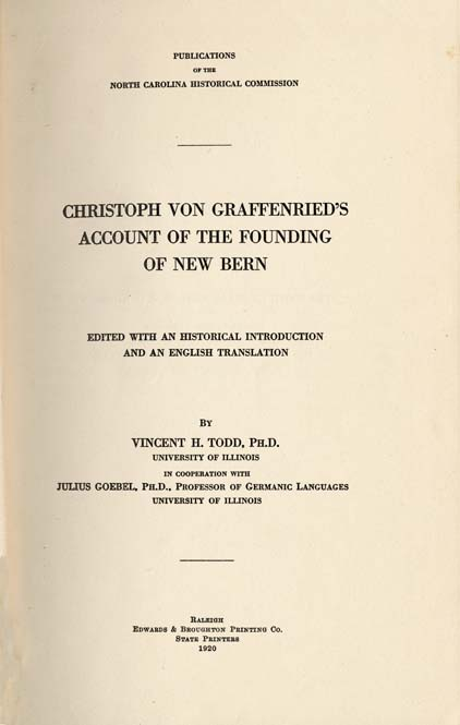 Baron Christoph Von Graffenried 1661 1743 Ed By Vincent H Todd