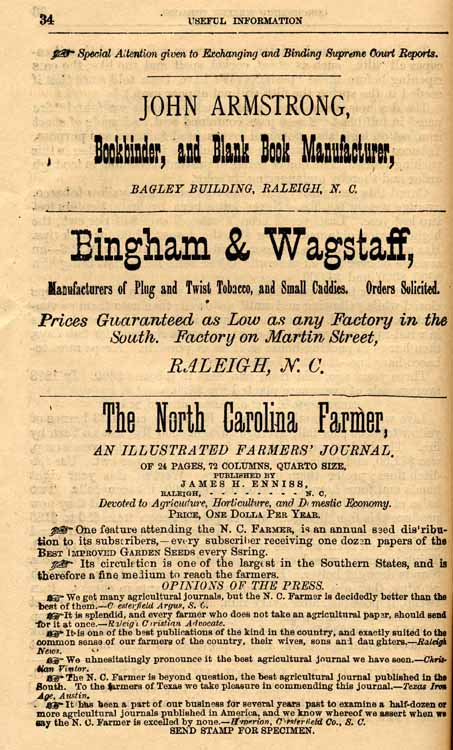 J b hunter useful information concerning yellow tobacco and raleigh nc bingham wagstaf manufacturers of plug and twist tobacco and small caddies raleigh nc the north carolina farmer an illustrated sciox Image collections
