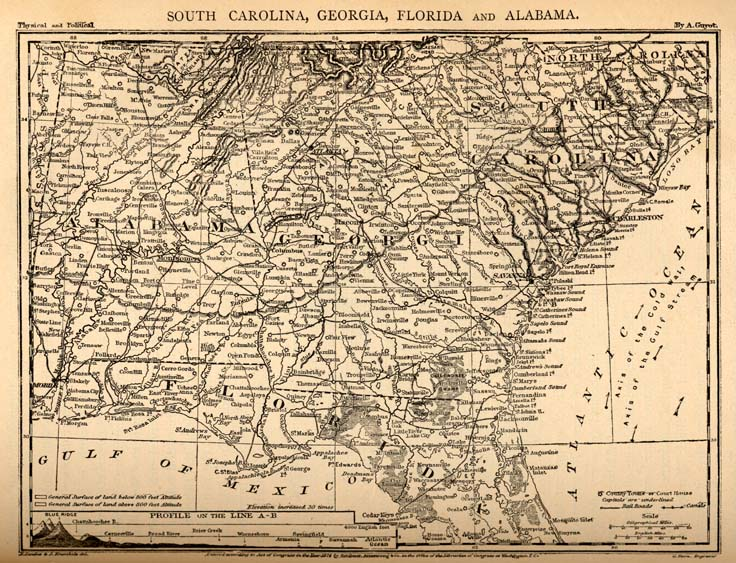 Map Of North Florida And South Georgia.Edward King 1848 1896 And James Wells Champney 1843 1903