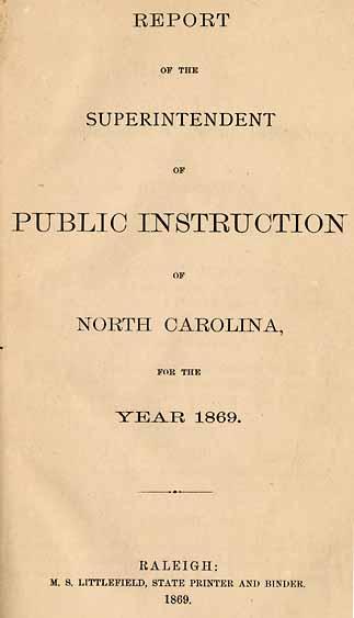 North Carolina Dept Of Public Instruction Report Of The