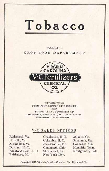 Virginia-Carolina Chemical Corp. Crop Book Dept.. Tobacco