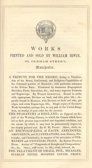 Wilson Armistead 1819 1868 A Tribute For The Negro Being A