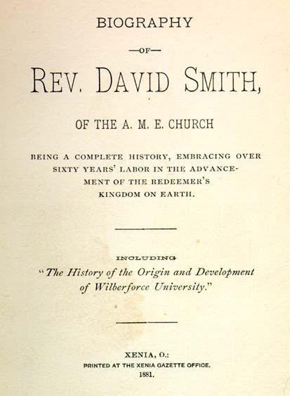 David Smith, b. 1784, Daniel Alexander Payne, 1811-1893. Biography ...