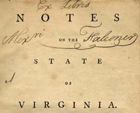 Thomas Jefferson notes on the state of virginia