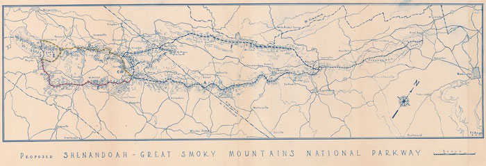 map of Proposed Shenandoah - Great Smoky Mountains National Parkway