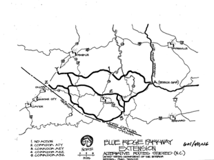 Map of unbuilt Blue Ridge Parkway's Georgia Extension