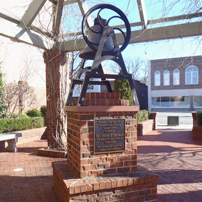 Original Courthouse Bell at Sesquicentennial Park, Graham.  Photo courtesy of Kelly J. Agan