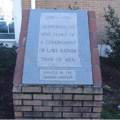 U.S. Bicentennial Monument, Graham.  Photo courtesy of Kelly J. Agan.