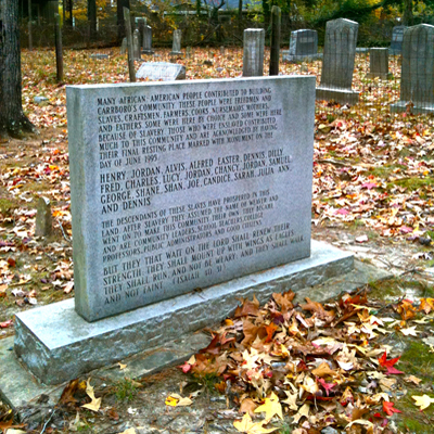 African American Cemetery Marker, Carrboro. Photo courtesy of Kelly J. Agan.