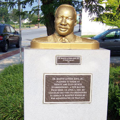 Martin Luther King, Jr. Monument, Greensboro. Photo courtesy of Waymarking.org