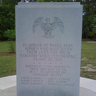 Pope Airmen Memorial, Fort Bragg. Photo by Lee Hattabaugh, April 20, 2011, courtesy of HMdb.org