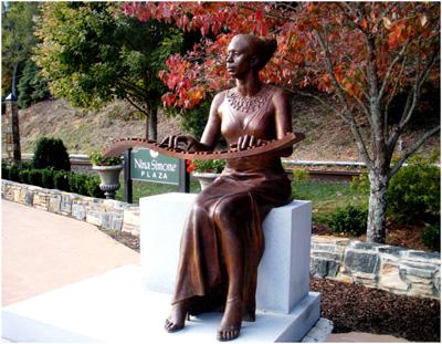 Bronze Statue of Nina Simone in Nina Simone Plaza, Tryon.  Nina Simone website (http://www.ninasimone.com/).