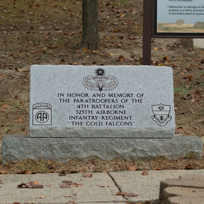 4th Battalion 325th Airborne Paratroopers Marker, Fort Bragg. Photograph by Project Staff.