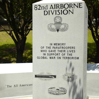 82nd Airborne Paratroopers Global War on Terrorism Memorial, Fort Bragg.  Photo courtesy of www.army.mil, (accessed January 14, 2014)