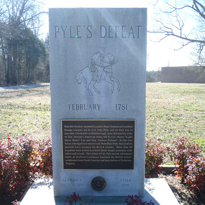 Pyle's Defeat Monument, Burlington.  Photo courtesy of Kelly J. Agan
