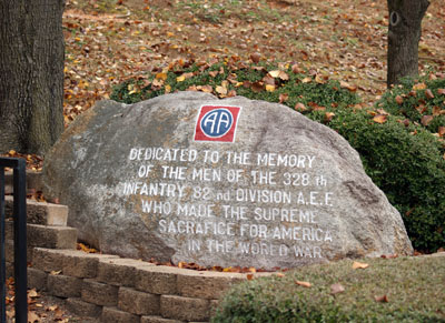 World War I 328th Infantry 82nd Division AEF Rock, Fort Bragg.  Photograph by Project Staff.