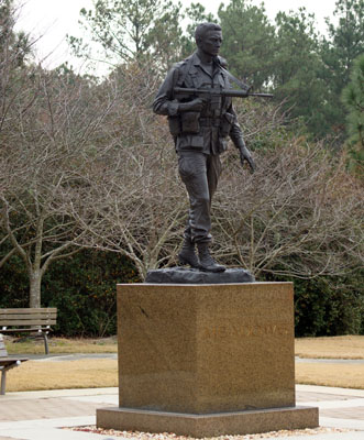 "Major Richard ""Dick"" Meadows Statue, Fort Bragg.  Photograph by Project Staff."