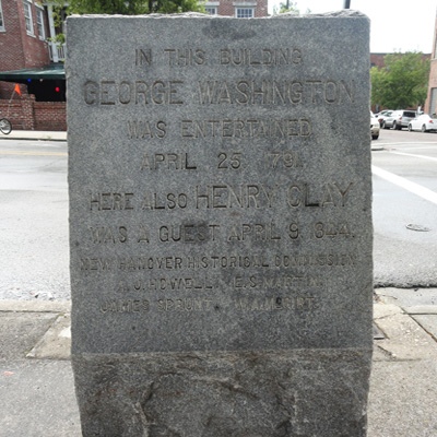 George Washington and Henry Clay Marker, Wilmington. Photograph courtesy of Natasha Smith.