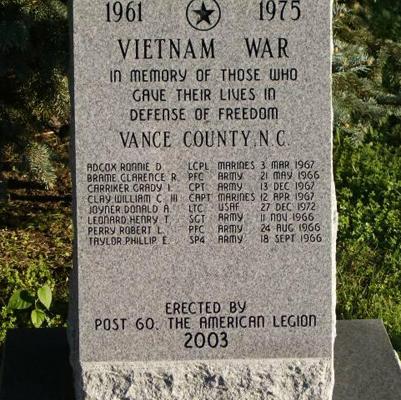Vance County Vietnam War Memorial, Henderson. Photo courtesy of Markeroni.com