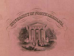 Close-up of an invitation to the 1844 Commencement Ball.