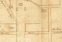 A map of Chapel Hill drawn by professor Elisha Mitchell in 1836. The map includes Betsy Nunn's boarding house, where