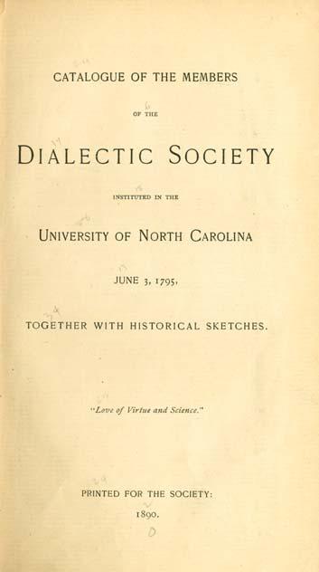 University Of North Carolina 1793 1962 Dialectic Society