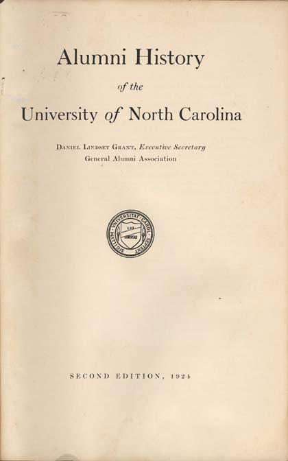 University of North Carolina (1793-1962) and Daniel Lindsey