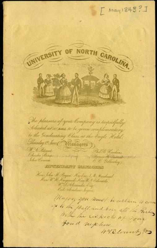 Invitation to the 1843 Commencement Ball