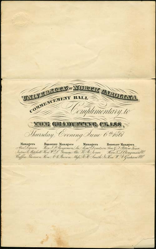 Invitation to the 1861 Commencement Ball